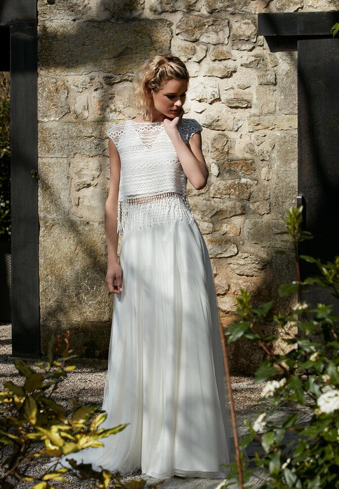 Robe de mariée bohème crop top - jupe