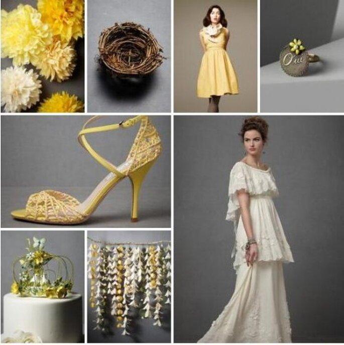 El amarillo para decoración de boda. Foto de BHLDN.