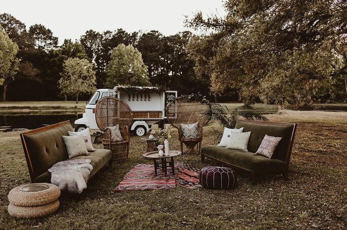 Boho Chic Hochzeitsdekoration Lounge Ecke