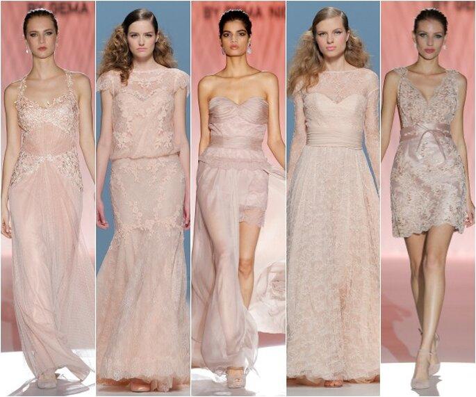 Vestidos de novia primavera 2015 en color rosa pastel de Cabotine y Cymbeline - Foto Barcelona Bridal Week