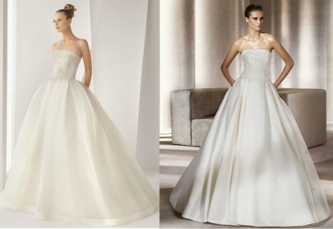 A gauche, collection Rosa Clara 2012 Mod. Adamo. A droite, collection Pronovias 2012 Glamour Mod. Piccola.