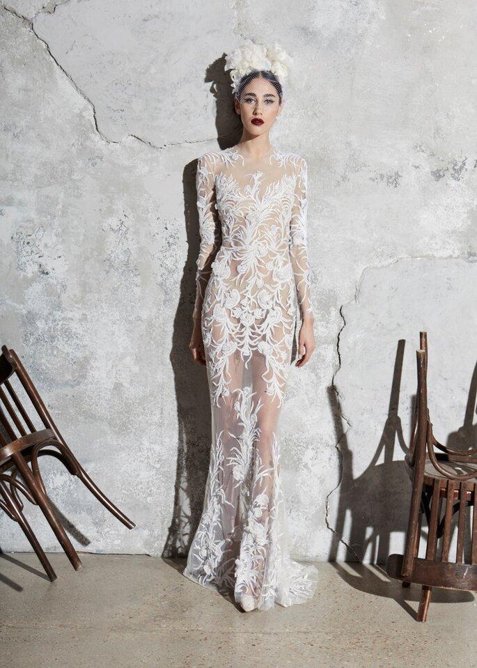 Vestido de novia con transparencias encaje