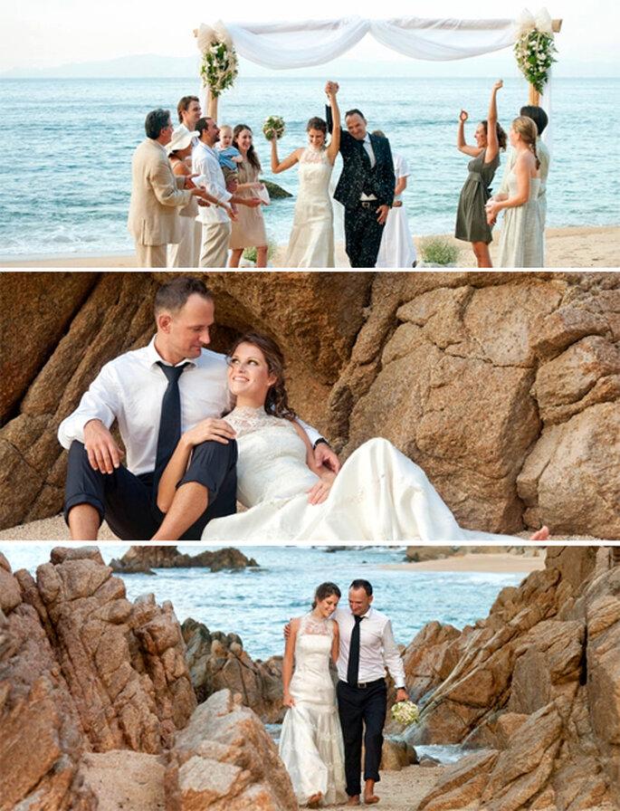 Novios recién casados en la playa - Foto: Xinalani