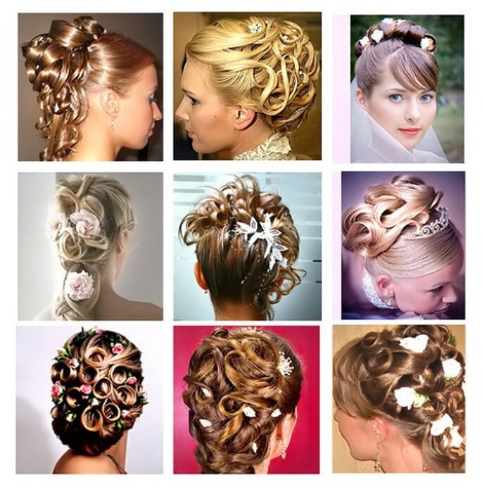 Alcune idee per acconciature con fiori. Foto www.matrimonio-fiori.net