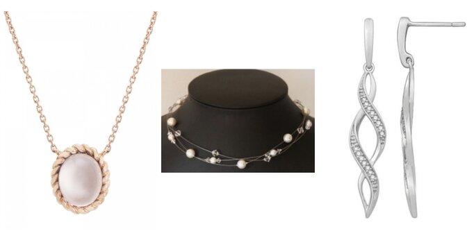 Image à gauche : Collier Berlingot Mini, Diveene Joaillerie Paris / Image au centre : Collier Firmament, Nuage de Perles / Boucles Sanjay, Le Joailler du Marais