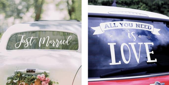 Adhésif pour voiture Just Married blanc et Adhésif pour voiture All you need is love