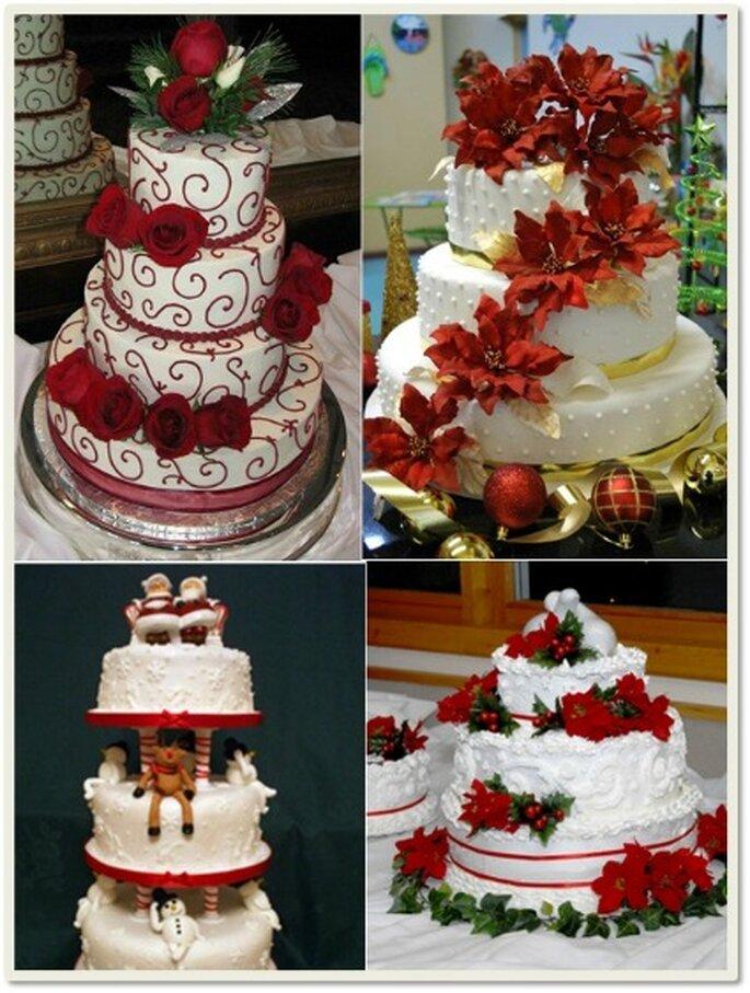 Tortas para bodas con motivos navideños, espectaculares.