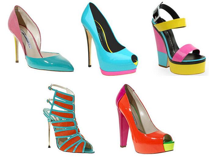 Zapatos en colores neón de Giuseppe Zanotti y Brian Atwood