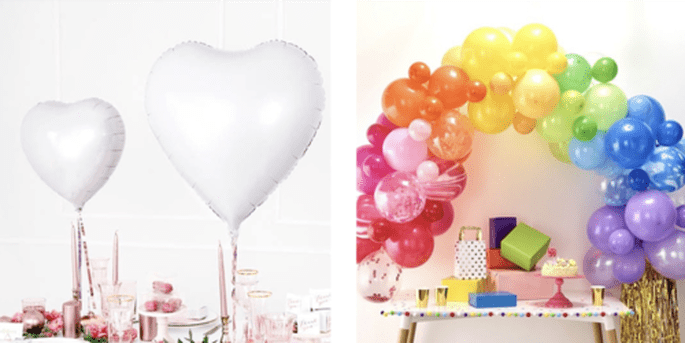 Ballons cœurs blancs et Arc de ballons arc-en-ciel 85 pièces