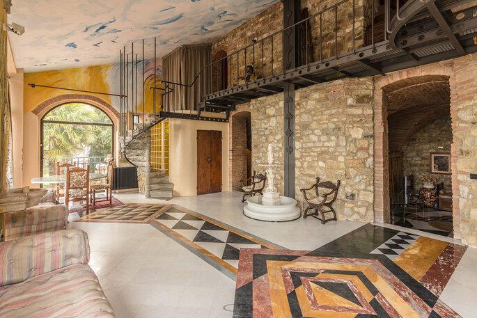 Interni rustici per un matrimonio con stile in Italia
