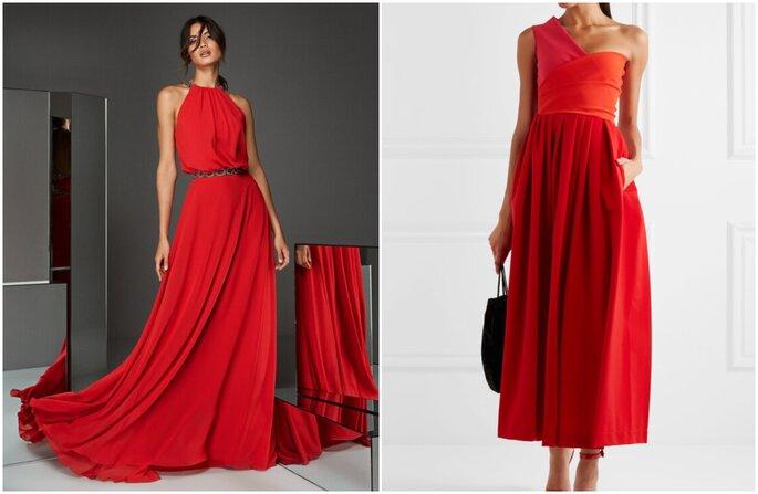 Vestido para convidada de casamento : vestido longo vermelho e fluido e vestido estruturado vermelho de um ombro só