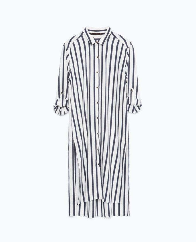 Camisa de rayas larga de Zara 29.95 Euros