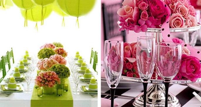 Decoración en verde y rosa