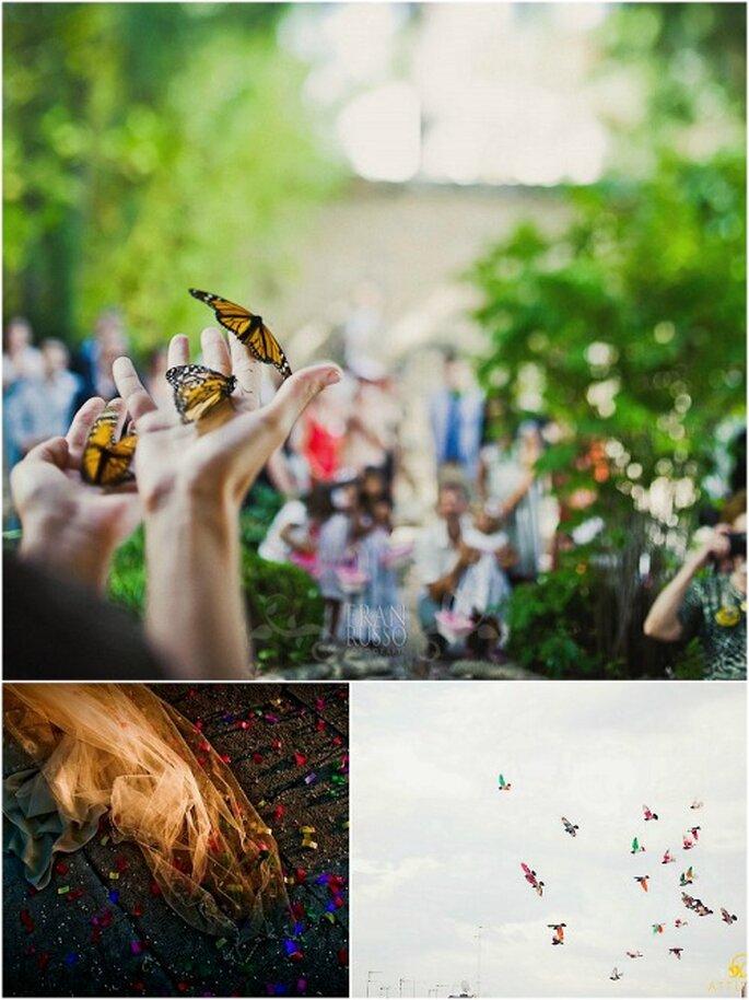 Confetti, mariposas, palomas blancas... Ponle un final original a tu boda. Fotos: Cesc Giralt, Fran Russo y Fran Cabades.