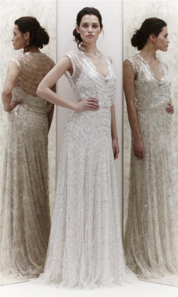 Vestido de novia vintage con brillantes y espalda de ilusión - Foto Jenny Packham 2013