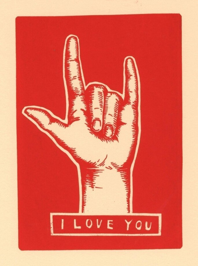 Love You sign language print from Etsy seller TwoSarahs, $16.