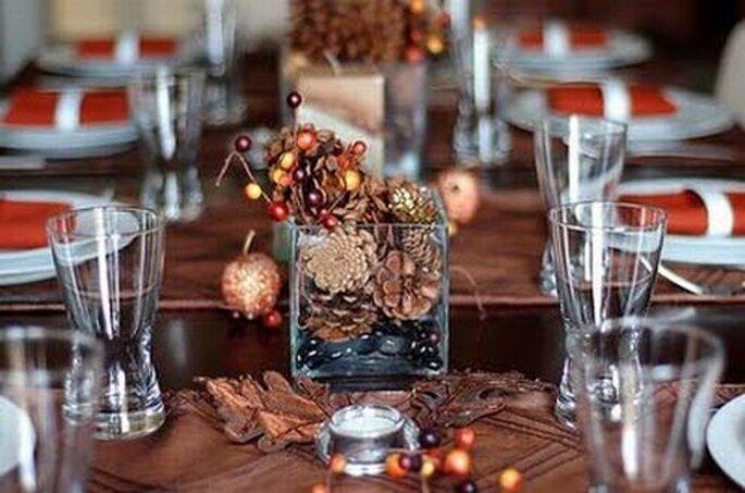 Thanksgiving wedding Pine cone centerpieces