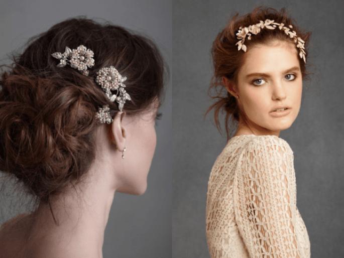 Tocados con flores para novias con estilo vintage en color plata y dorado - Foto BHLDN