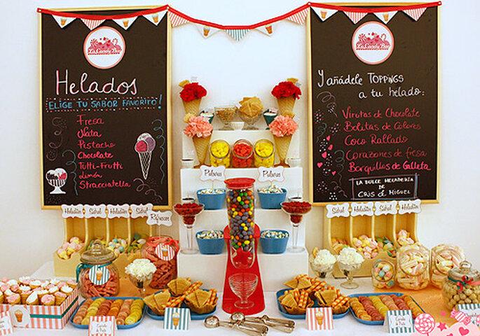 Un colorido buffet de golosinas para tu boda. Foto: The Candy Bar