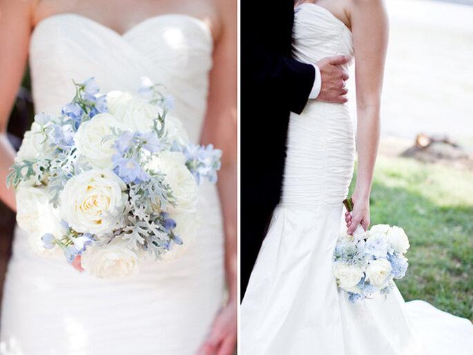 Azul polveado en tu ramo de novia - Foto Marta Locklear Photography