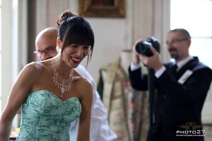 La damigella in abito verde Zankyou firmato Antonio Riva