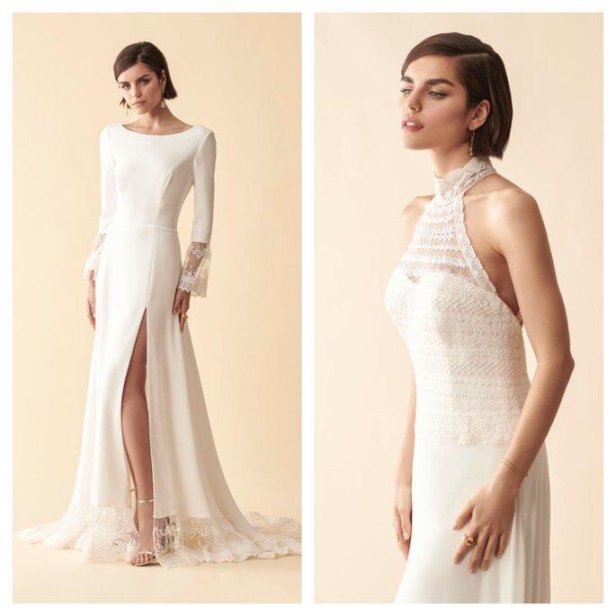 Robes de mariées de créateurs, avec fente ou épaule dénudée