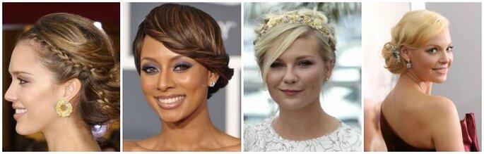 Ispirati alle star per scegliere la tua acconciatura da sposa! Da sinistra Jessica Alba, Keri Hilson, Kirsten Dunst e Katherine Heigl. Foto Youtube