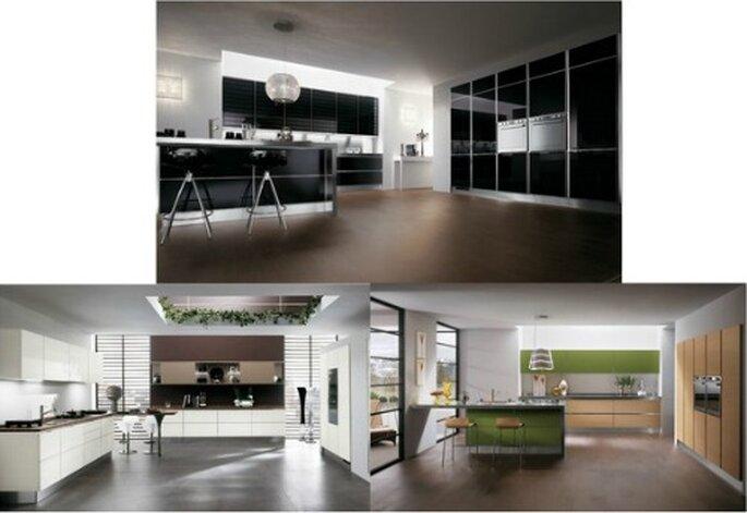 Linea pulita ed essenziale per il modello Scenery di Scavolini, qui visibile in 3 differenti composizioni