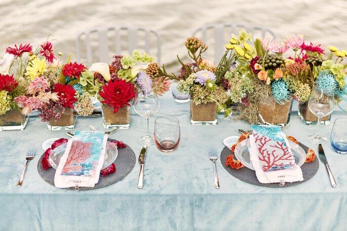 Under water Love Inspirationsshooting Hochzeit Tischdeko