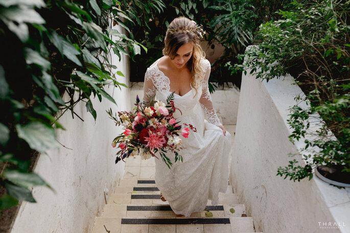 vestido de noiva com boquet