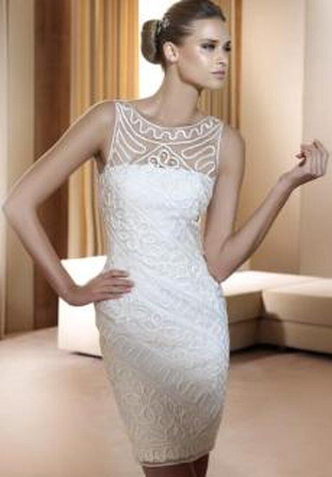Vestido novia corto pronovias