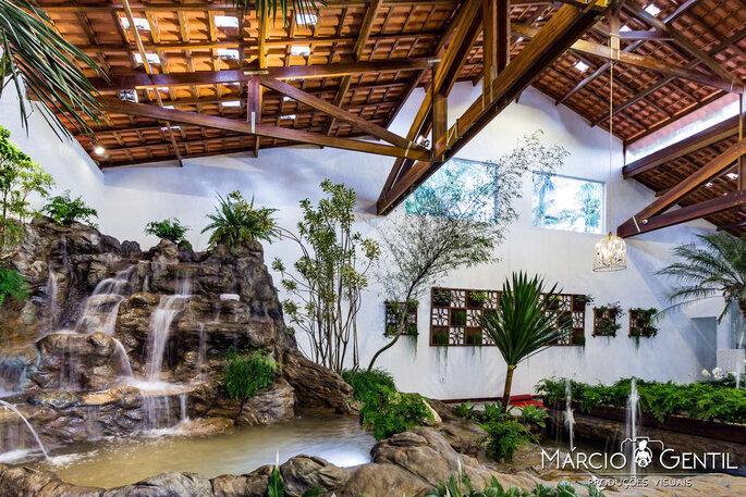 Jardim interno no casamento