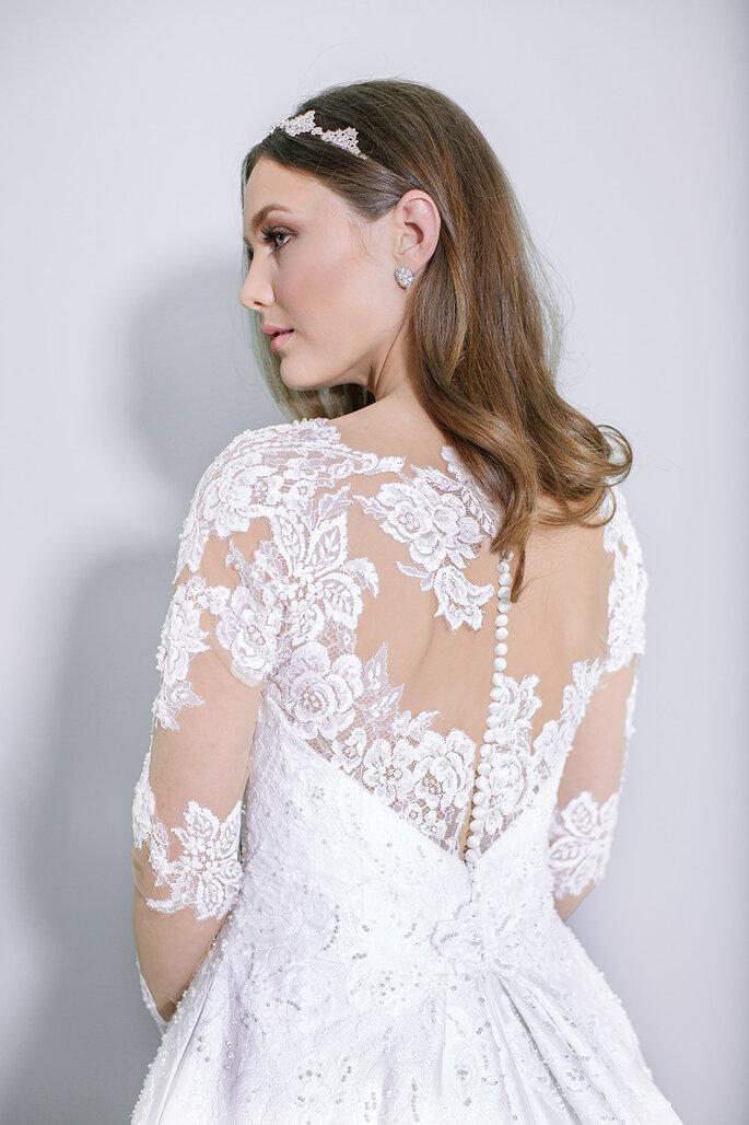 Renda bordada vestido de noiva