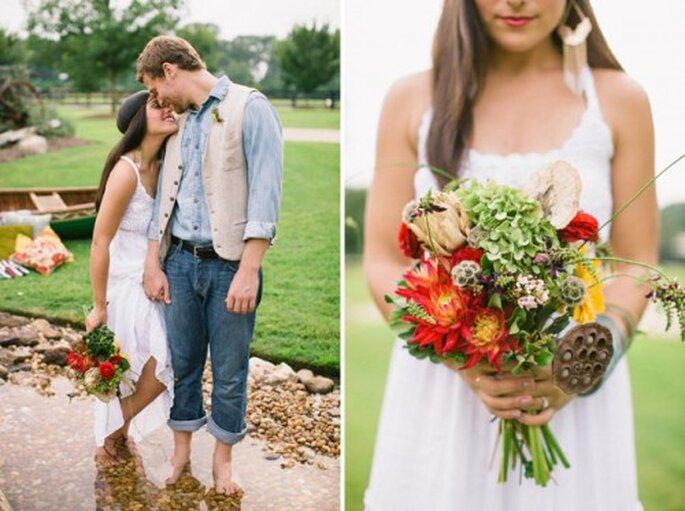 Ländliche Brautsträuße wirken wie eben frisch gepflückt – Foto: allmanbrothers styled