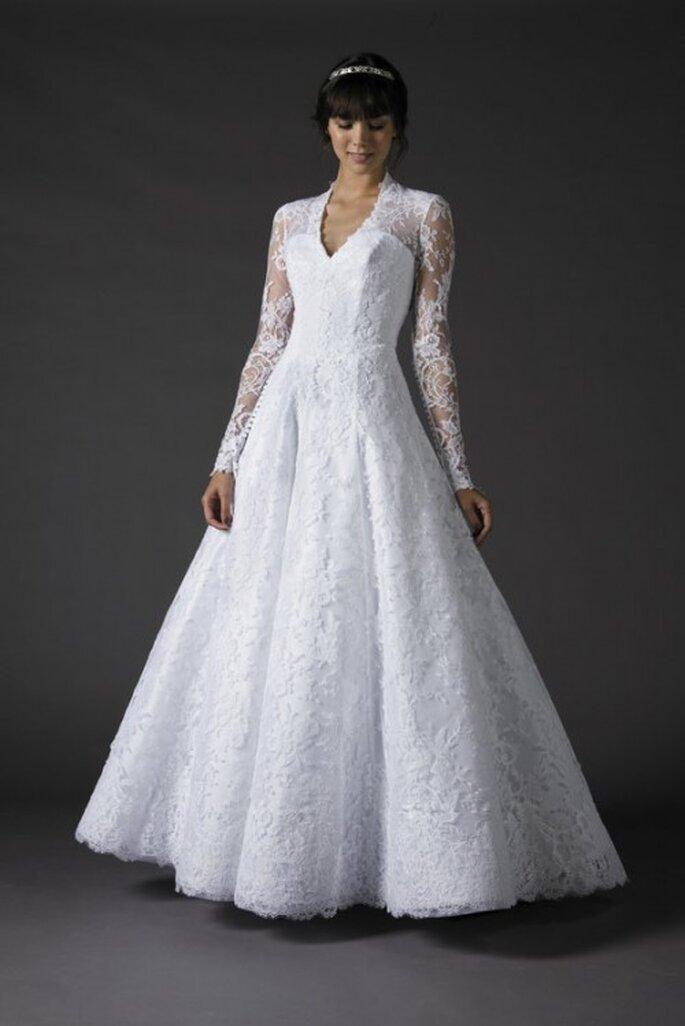 Vestido de novia Flower, con manga larga y encaje, Cymbeline