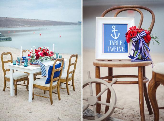 Decoración de boda estilo marinero