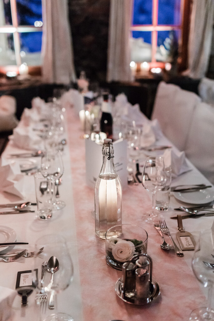 Tischdekoration. Tischdekotation Hochzeitsbankett