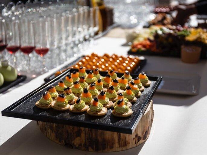 Des mets servis pour le vin d'honneur par Pro'G Traiteu