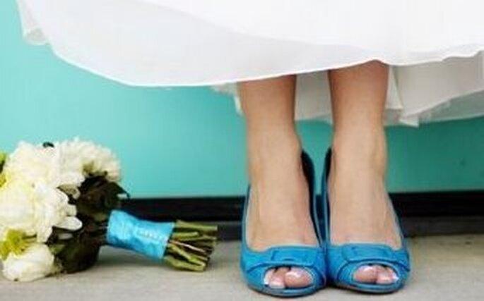 niebieskie błękitne buty ślubne
