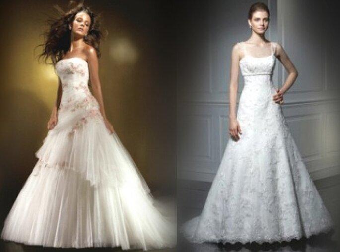 Anjolique: Langes Kleid aus Tüll, verziert mit rosa Blumen; Anjolique: Langes Kleid aus Organza, einfachen Linien, silbernen Stickereien
