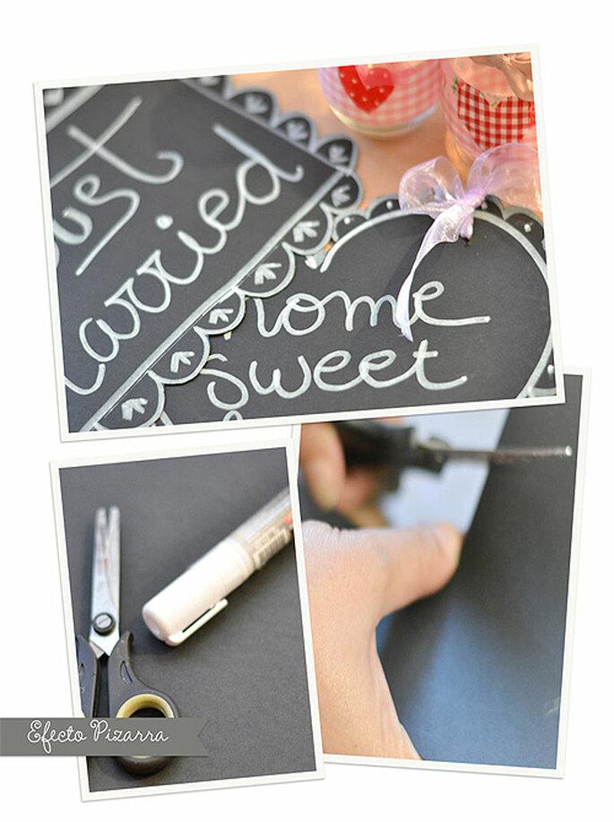 Conseguir el efecto-pizarra es fácil con un poco de cartulina y tiza líquida. Foto: Mónica Custodio