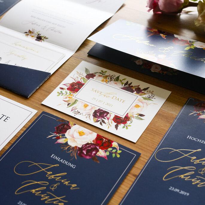Hochzeitseinladung, Hochzeitskarte Marsala