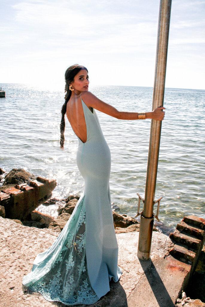 vestido largo boda azul claro