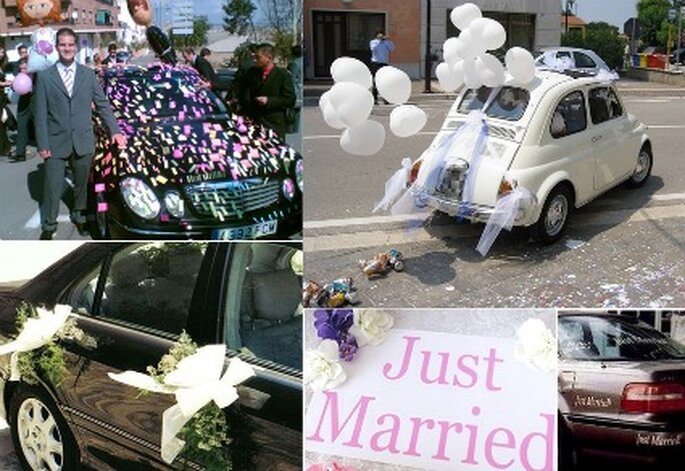 Deje volar la imaginación y creatividad para hacer algo divertido y con humor para el carro de los novios.