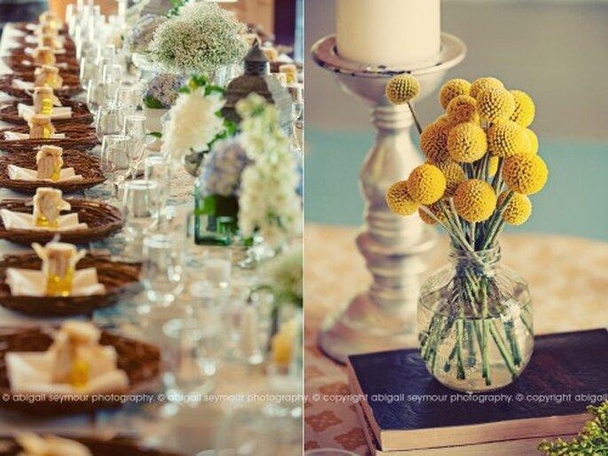 centros de mesa para boda con frascos DIY. Fotografía Abigail Seymour
