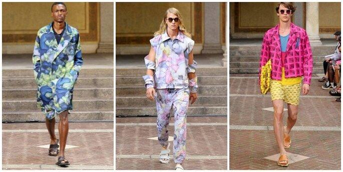L'effetto tappezzeria non risparmia neppure la moda uomo. Foto via Facebook: Camera Nazionale della Moda Italiana