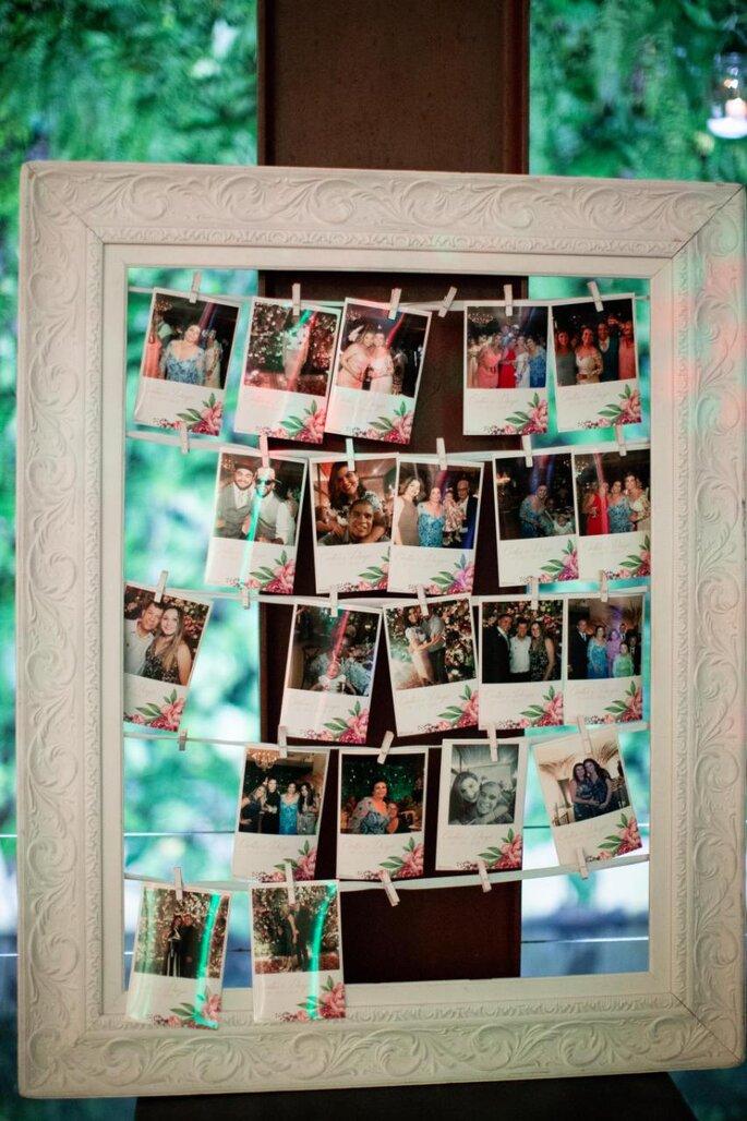 Mural de fotos para o casamento