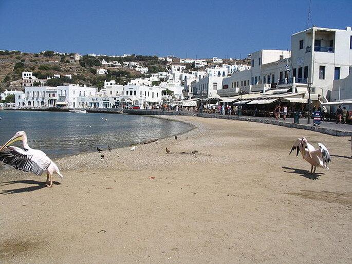 Playa en Mykonos. Foto: wikimedia.org - Binabik155