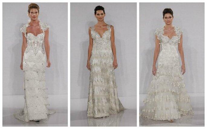 La commistione di più tessuti e stili è una delle caratteristiche che contraddistinguono gli abiti di Pnina Tornai nella Collezione 2012