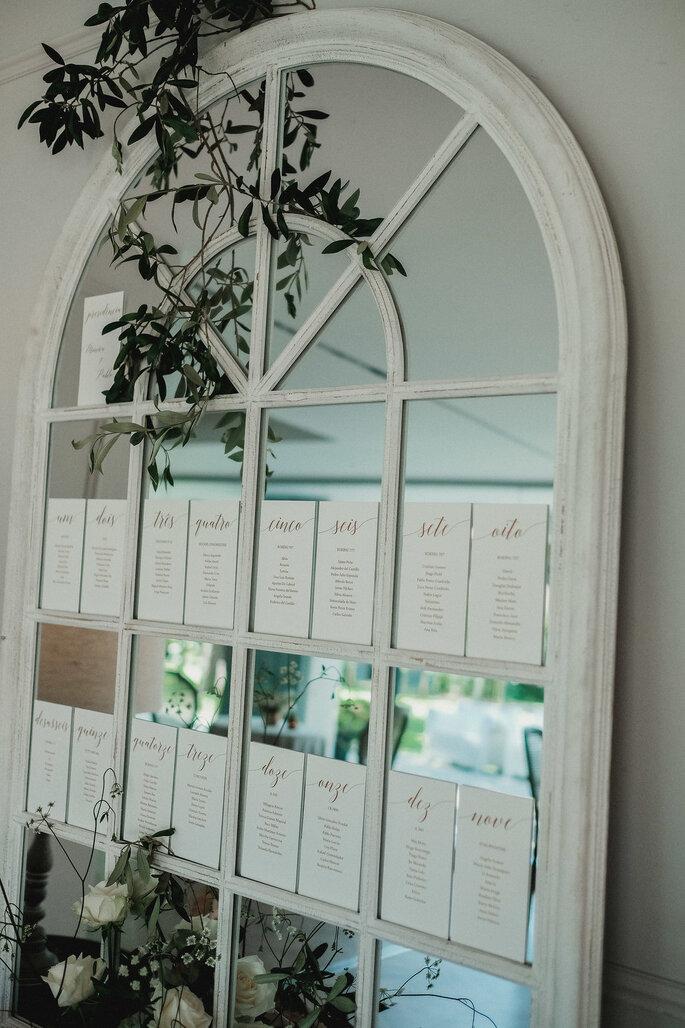 seating plan casamento num espelho